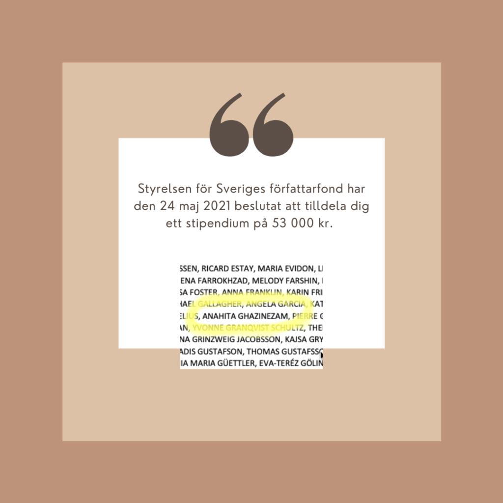 Styrelsen för Sveriges författarfond har den 24 maj 2021 beslutat att tilldela dig Anahita Ghazinezam ett stipendium på 53 000 kr.